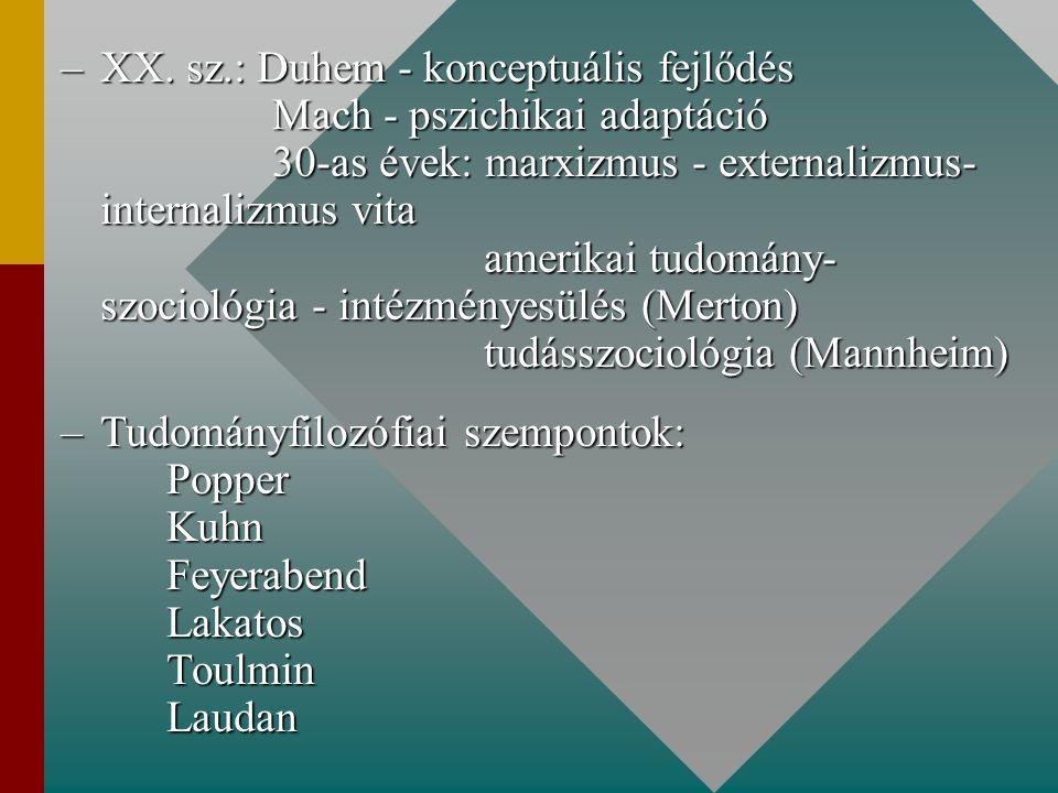 –XX. sz.: Duhem - konceptuális fejlődés Mach - pszichikai adaptáció 30-as évek: marxizmus - externalizmus- internalizmus vita amerikai tudomány- szoci