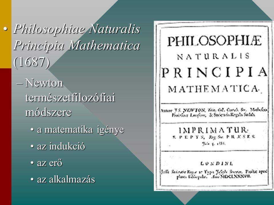 Philosophiae Naturalis Principia Mathematica (1687)Philosophiae Naturalis Principia Mathematica (1687) –Newton természetfilozófiai módszere a matematika igényea matematika igénye az indukcióaz indukció az erőaz erő az alkalmazásaz alkalmazás