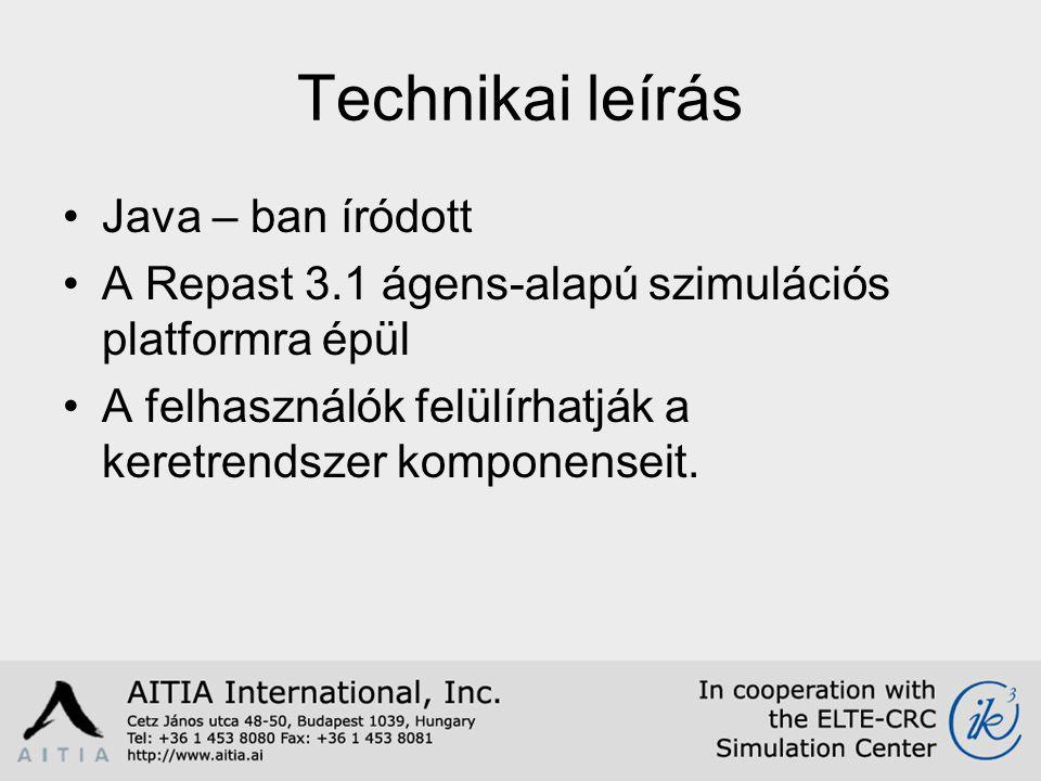 Technikai leírás Java – ban íródott A Repast 3.1 ágens-alapú szimulációs platformra épül A felhasználók felülírhatják a keretrendszer komponenseit.