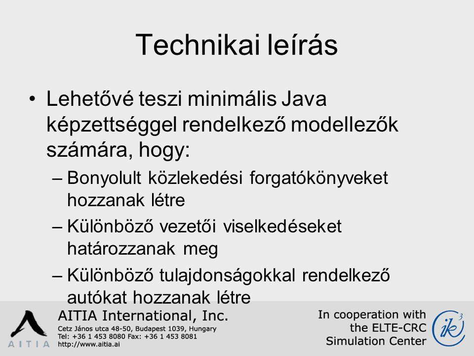 Technikai leírás Lehetővé teszi minimális Java képzettséggel rendelkező modellezők számára, hogy: –Bonyolult közlekedési forgatókönyveket hozzanak létre –Különböző vezetői viselkedéseket határozzanak meg –Különböző tulajdonságokkal rendelkező autókat hozzanak létre