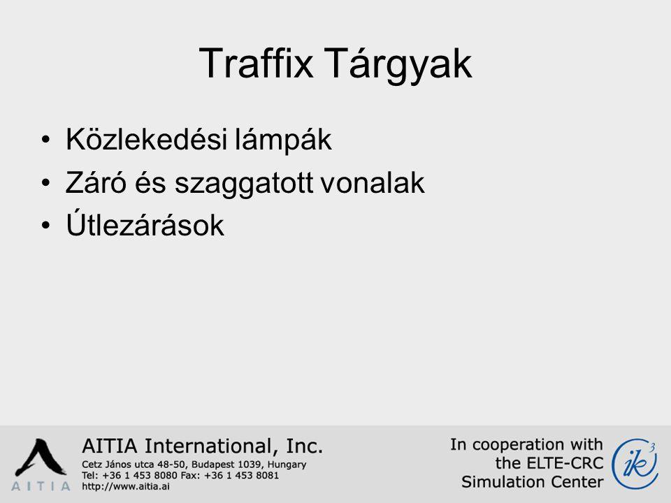 Traffix Tárgyak Közlekedési lámpák Záró és szaggatott vonalak Útlezárások