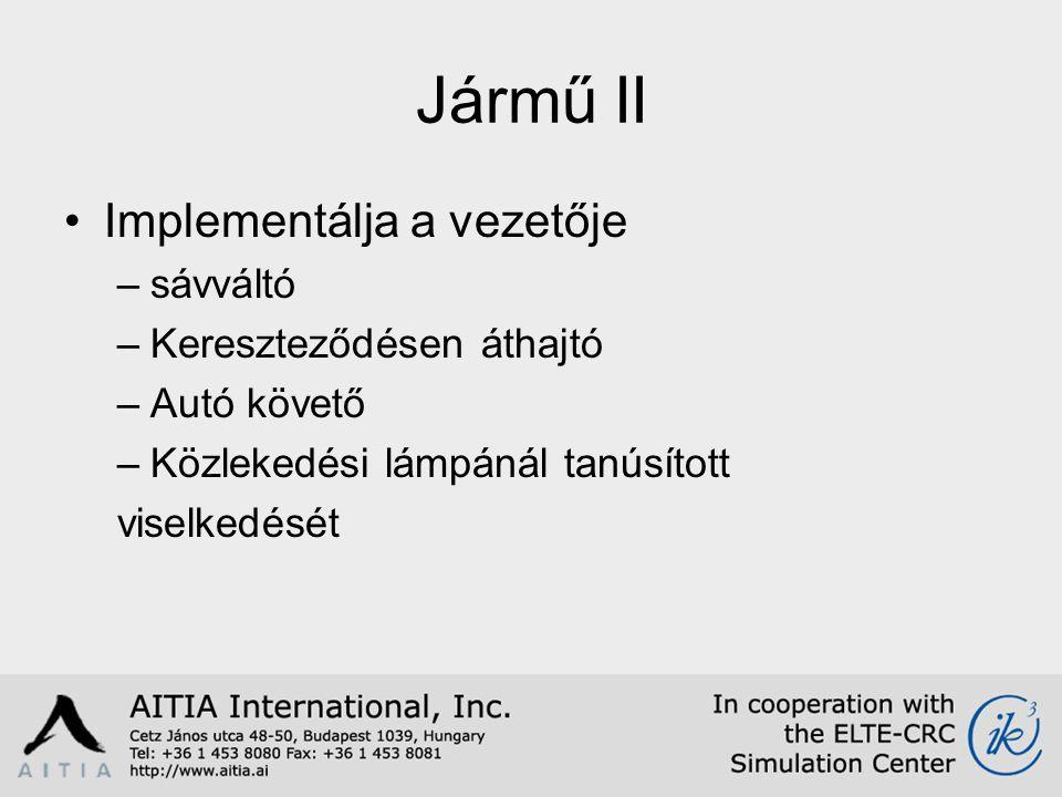 Jármű II Implementálja a vezetője –sávváltó –Kereszteződésen áthajtó –Autó követő –Közlekedési lámpánál tanúsított viselkedését