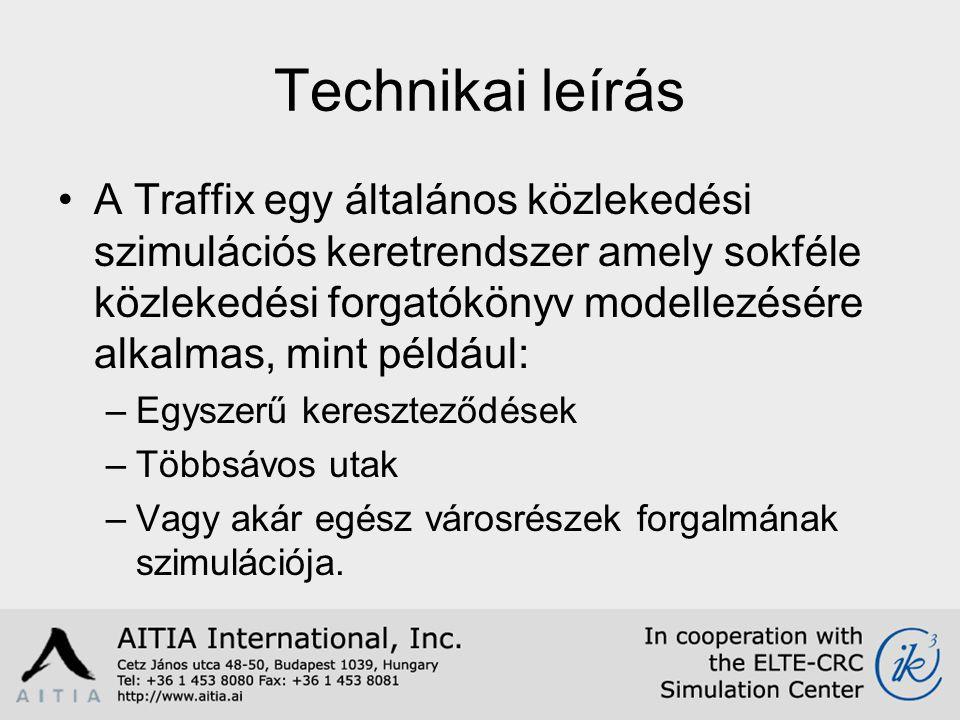 Technikai leírás A Traffix egy általános közlekedési szimulációs keretrendszer amely sokféle közlekedési forgatókönyv modellezésére alkalmas, mint például: –Egyszerű kereszteződések –Többsávos utak –Vagy akár egész városrészek forgalmának szimulációja.