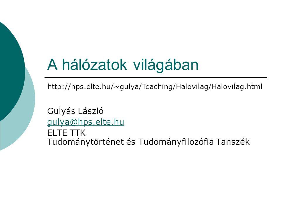 A hálózatok világában Gulyás László gulya@hps.elte.hu ELTE TTK Tudománytörténet és Tudományfilozófia Tanszék http://hps.elte.hu/~gulya/Teaching/Halovi