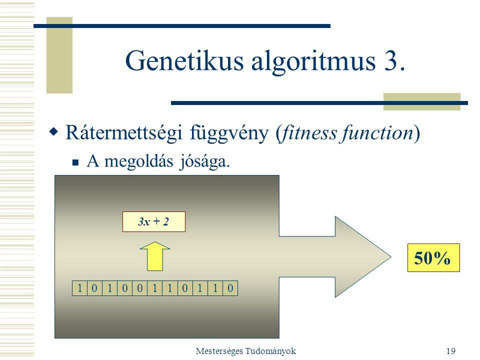 Mesterséges Tudományok19 Genetikus algoritmus 3.  Rátermettségi függvény (fitness function) A megoldás jósága. 10100110110 3x + 2 50%