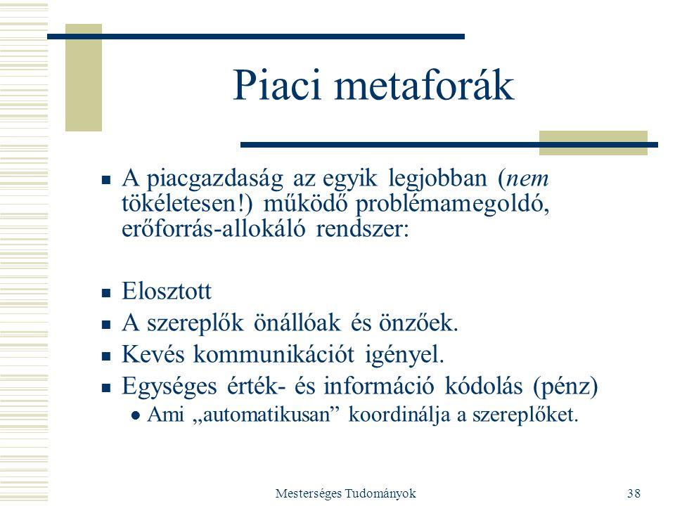Mesterséges Tudományok38 Piaci metaforák A piacgazdaság az egyik legjobban (nem tökéletesen!) működő problémamegoldó, erőforrás-allokáló rendszer: Elo