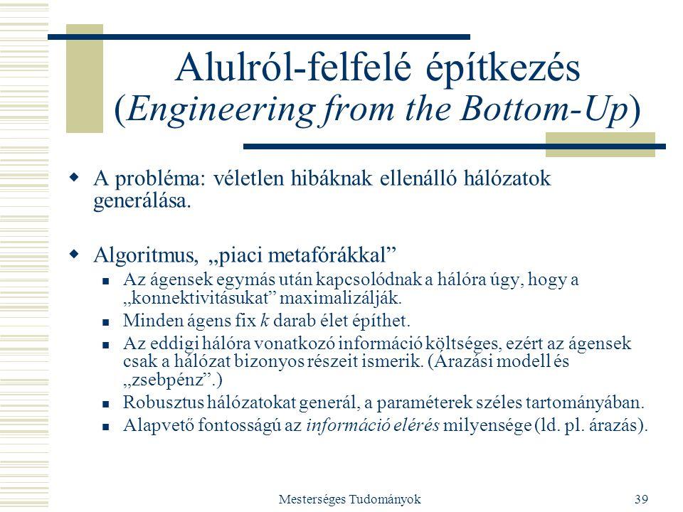 Mesterséges Tudományok39 Alulról-felfelé építkezés (Engineering from the Bottom-Up)  A probléma: véletlen hibáknak ellenálló hálózatok generálása. 