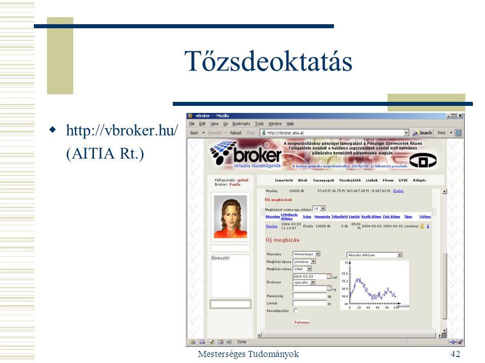 Mesterséges Tudományok42 Tőzsdeoktatás  http://vbroker.hu/ (AITIA Rt.)
