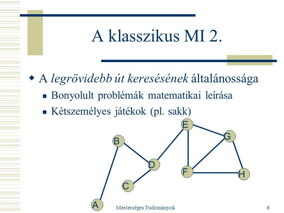 Mesterséges Tudományok8 A klasszikus MI 2.  A legrövidebb út keresésének általánossága Bonyolult problémák matematikai leírása Kétszemélyes játékok (
