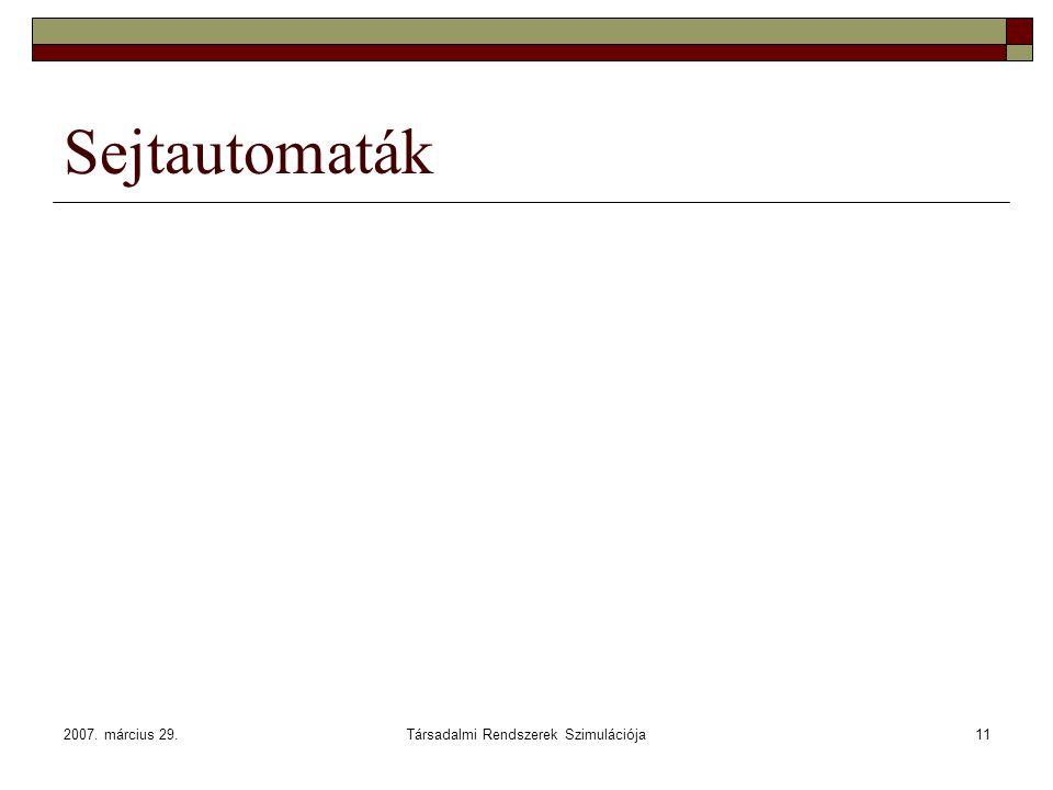 2007. március 29.Társadalmi Rendszerek Szimulációja11 Sejtautomaták