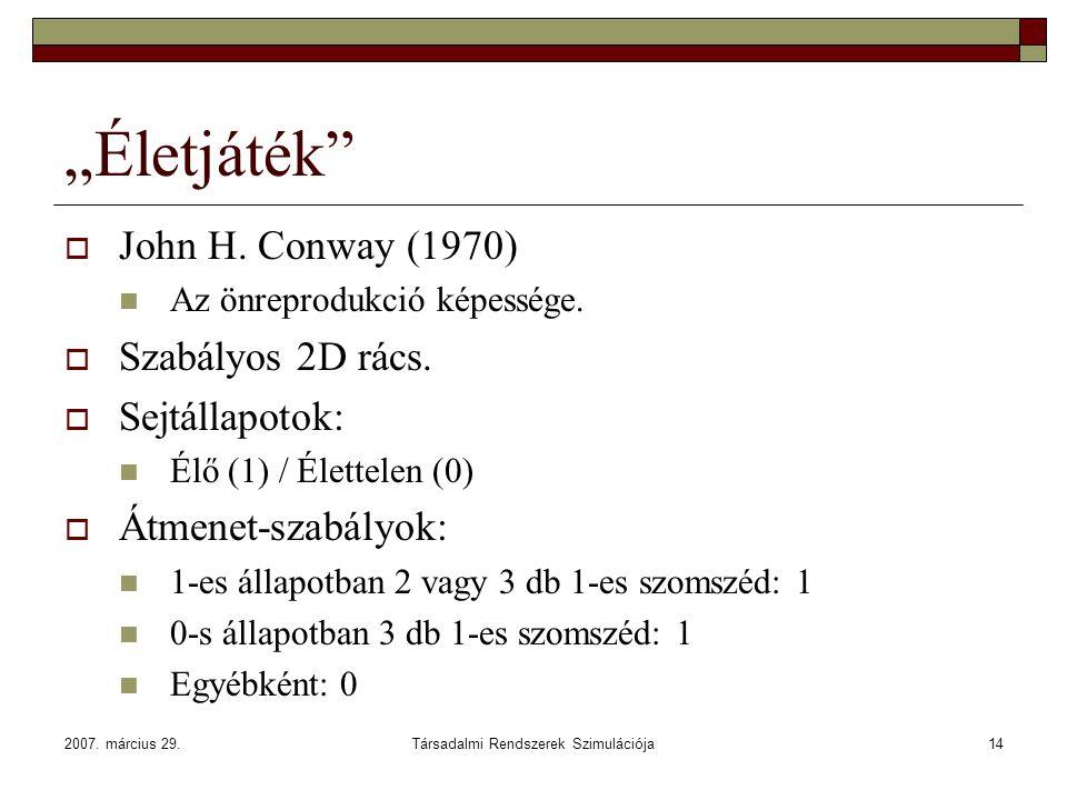 """2007. március 29.Társadalmi Rendszerek Szimulációja14 """"Életjáték""""  John H. Conway (1970) Az önreprodukció képessége.  Szabályos 2D rács.  Sejtállap"""