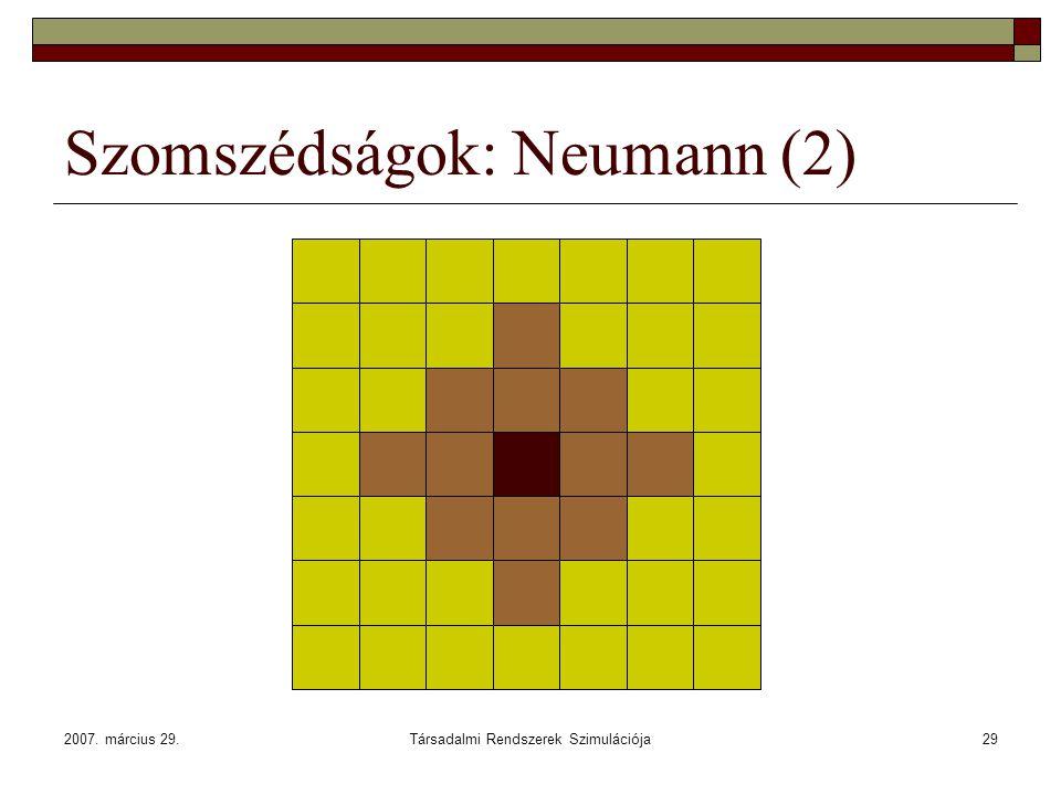 2007. március 29.Társadalmi Rendszerek Szimulációja29 Szomszédságok: Neumann (2)