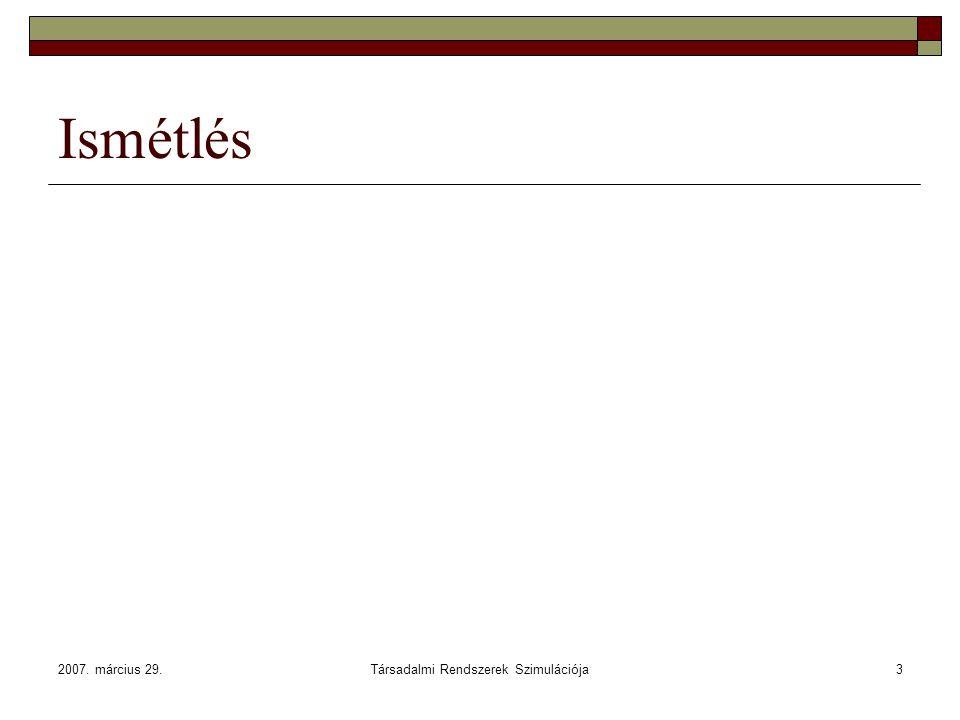 2007. március 29.Társadalmi Rendszerek Szimulációja3 Ismétlés