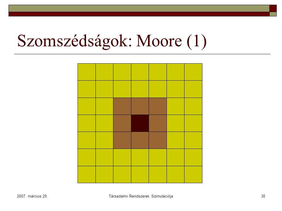 2007. március 29.Társadalmi Rendszerek Szimulációja30 Szomszédságok: Moore (1)