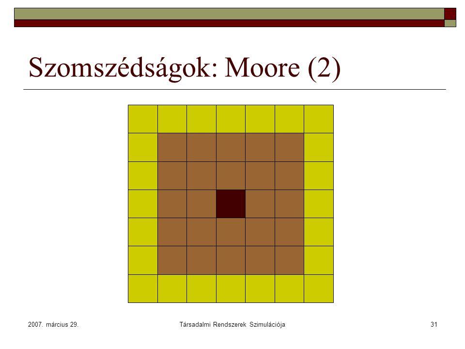 2007. március 29.Társadalmi Rendszerek Szimulációja31 Szomszédságok: Moore (2)