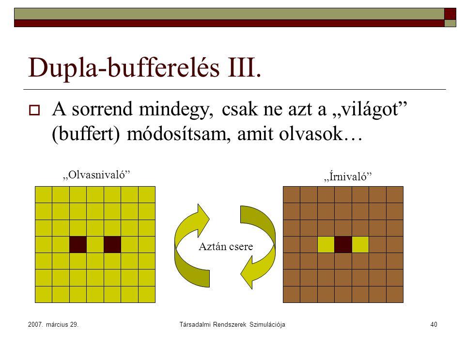 """2007. március 29.Társadalmi Rendszerek Szimulációja40 Dupla-bufferelés III.  A sorrend mindegy, csak ne azt a """"világot"""" (buffert) módosítsam, amit ol"""