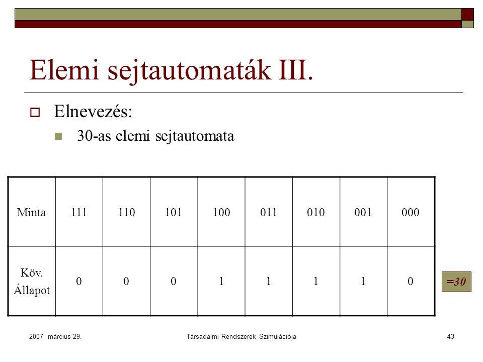 2007. március 29.Társadalmi Rendszerek Szimulációja43 Elemi sejtautomaták III.  Elnevezés: 30-as elemi sejtautomata Minta111110101100011010001000 Köv