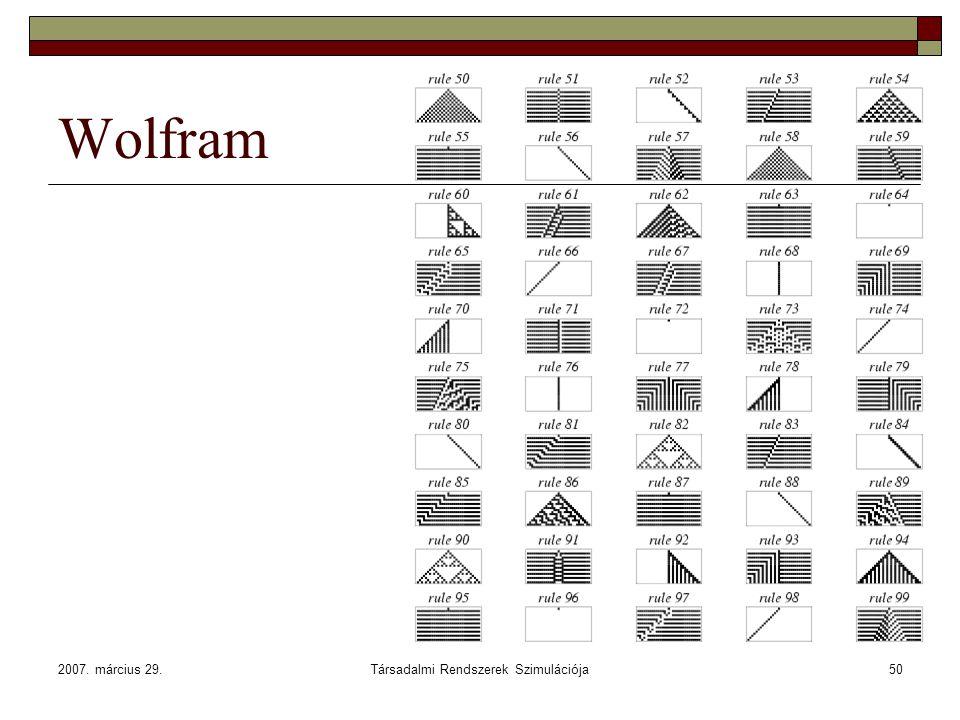 2007. március 29.Társadalmi Rendszerek Szimulációja50 Wolfram
