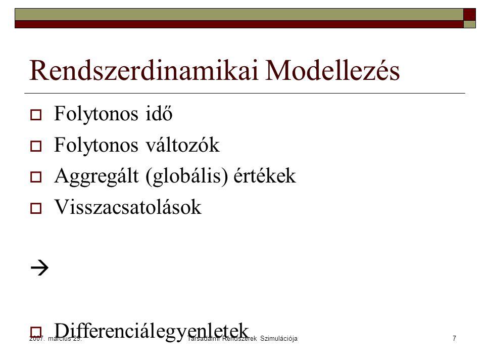 2007. március 29.Társadalmi Rendszerek Szimulációja7 Rendszerdinamikai Modellezés  Folytonos idő  Folytonos változók  Aggregált (globális) értékek