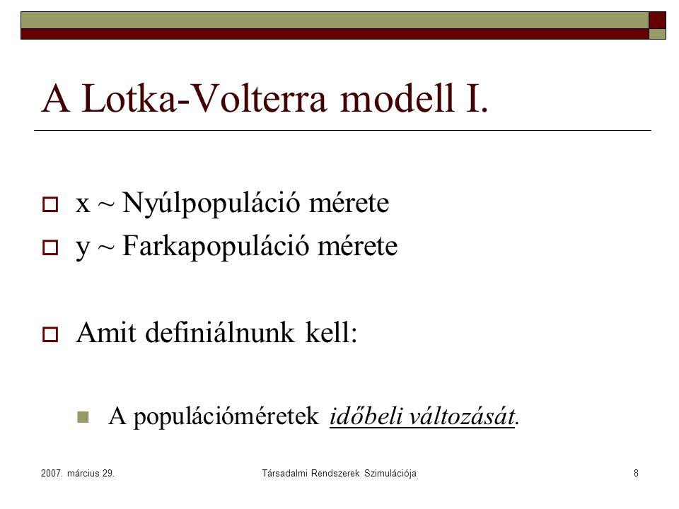 2007. március 29.Társadalmi Rendszerek Szimulációja8 A Lotka-Volterra modell I.  x ~ Nyúlpopuláció mérete  y ~ Farkapopuláció mérete  Amit definiál