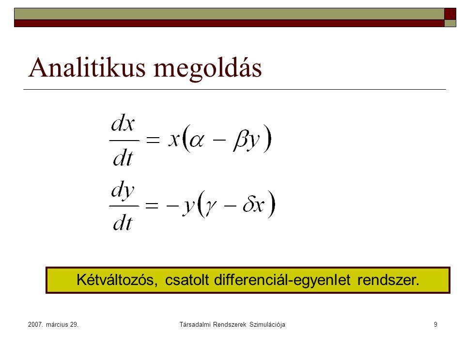 2007. március 29.Társadalmi Rendszerek Szimulációja9 Analitikus megoldás Kétváltozós, csatolt differenciál-egyenlet rendszer.