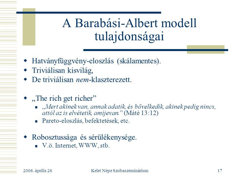 2006. április 26 Kelet Népe Szobaszeminárium17 A Barabási-Albert modell tulajdonságai  Hatványfüggvény-eloszlás (skálamentes).  Triviálisan kisvilág