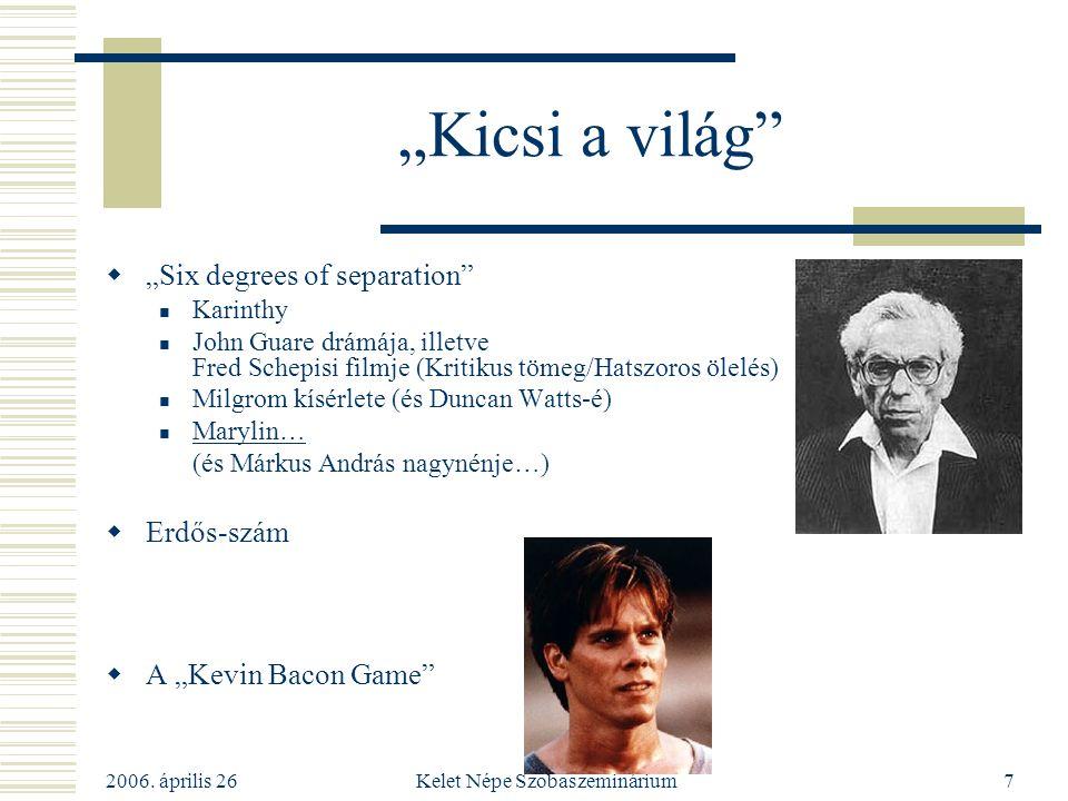 """2006. április 26 Kelet Népe Szobaszeminárium7 """"Kicsi a világ""""  """"Six degrees of separation"""" Karinthy John Guare drámája, illetve Fred Schepisi filmje"""