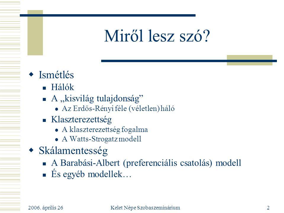"""2006. április 26 Kelet Népe Szobaszeminárium2 Miről lesz szó?  Ismétlés Hálók A """"kisvilág tulajdonság"""" Az Erdős-Rényi féle (véletlen) háló Klaszterez"""