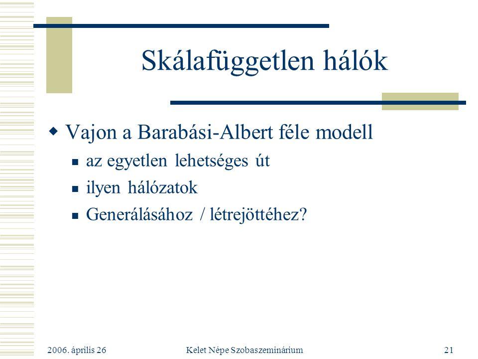 2006. április 26 Kelet Népe Szobaszeminárium21 Skálafüggetlen hálók  Vajon a Barabási-Albert féle modell az egyetlen lehetséges út ilyen hálózatok Ge