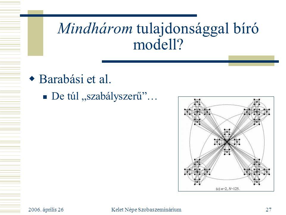 """2006. április 26 Kelet Népe Szobaszeminárium27 Mindhárom tulajdonsággal bíró modell?  Barabási et al. De túl """"szabályszerű""""…"""