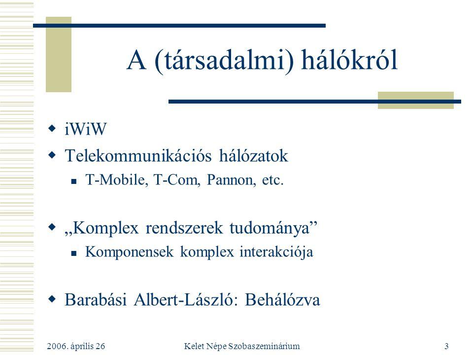 """2006. április 26 Kelet Népe Szobaszeminárium3 A (társadalmi) hálókról  iWiW  Telekommunikációs hálózatok T-Mobile, T-Com, Pannon, etc.  """"Komplex re"""