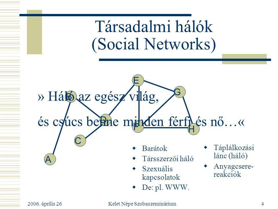 2006. április 26 Kelet Népe Szobaszeminárium4 Társadalmi hálók (Social Networks)  Barátok  Társszerzői háló  Szexuális kapcsolatok  De: pl. WWW. 