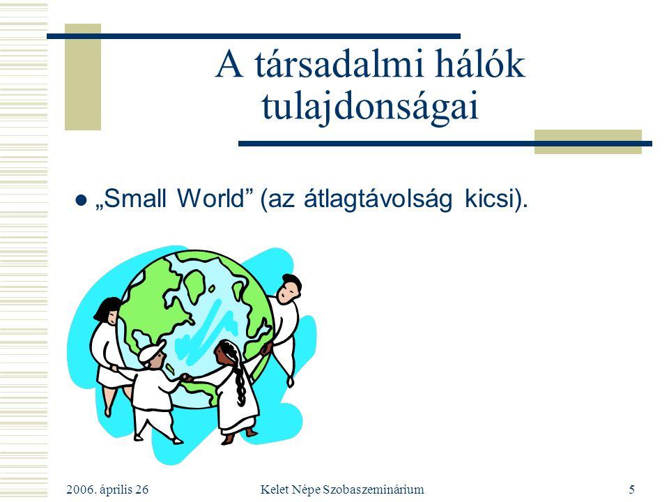 """2006. április 26 Kelet Népe Szobaszeminárium5 A társadalmi hálók tulajdonságai """"Small World"""" (az átlagtávolság kicsi)."""
