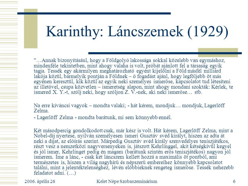 2006. április 26 Kelet Népe Szobaszeminárium6 Karinthy: Láncszemek (1929)