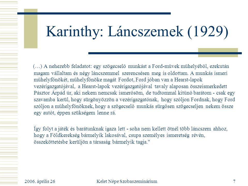 2006. április 26 Kelet Népe Szobaszeminárium7 Karinthy: Láncszemek (1929) (…) A nehezebb feladatot: egy szögecselő munkást a Ford-művek műhelyéből, ez
