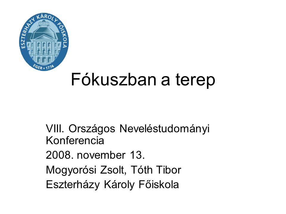 Fókuszban a terep VIII. Országos Neveléstudományi Konferencia 2008. november 13. Mogyorósi Zsolt, Tóth Tibor Eszterházy Károly Főiskola