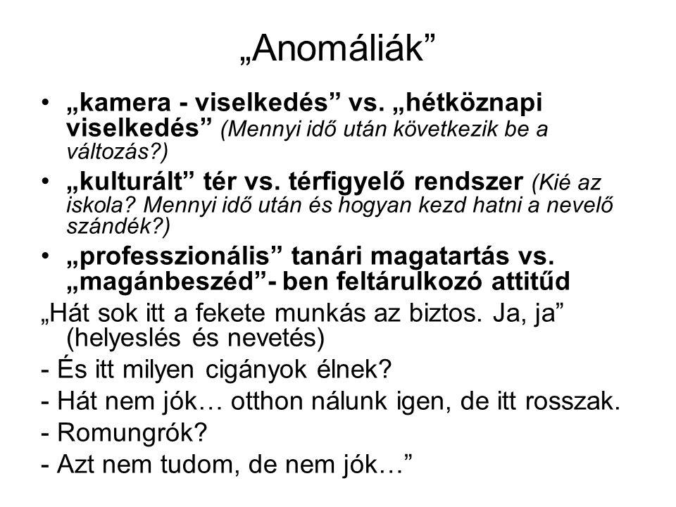 """""""Anomáliák """"kamera - viselkedés vs."""