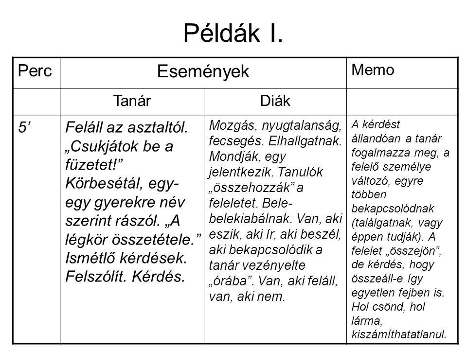 Példák I. Perc Események Memo TanárDiák 5'Feláll az asztaltól.