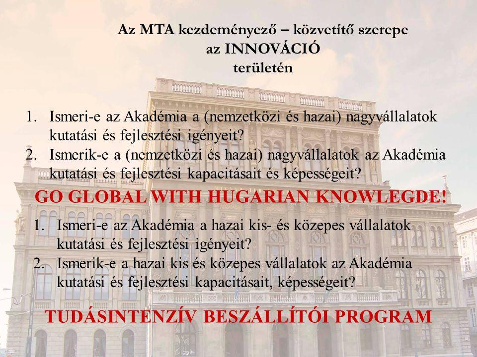 Az MTA kezdeményező – közvetítő szerepe az INNOVÁCIÓ területén 1.Ismeri-e az Akadémia a (nemzetközi és hazai) nagyvállalatok kutatási és fejlesztési igényeit.