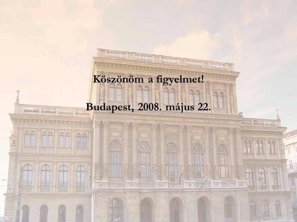 Köszönöm a figyelmet! Budapest, 2008. május 22.