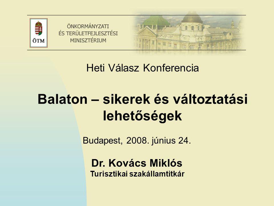 Dr. Kovács Miklós Turisztikai szakállamtitkár Budapest, 2008. június 24. Heti Válasz Konferencia Balaton – sikerek és változtatási lehetőségek