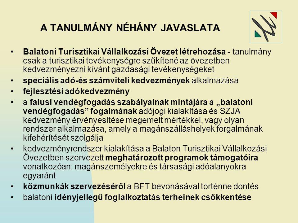A TANULMÁNY NÉHÁNY JAVASLATA Balatoni Turisztikai Vállalkozási Övezet létrehozása - tanulmány csak a turisztikai tevékenységre szűkítené az övezetben