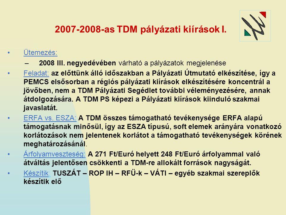2007-2008-as TDM pályázati kiírások I. Ütemezés: –2008 III. negyedévében várható a pályázatok megjelenése Feladat: az előttünk álló időszakban a Pályá