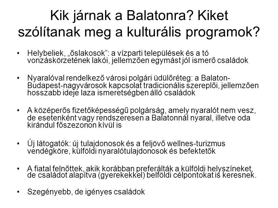 """Kik járnak a Balatonra? Kiket szólítanak meg a kulturális programok? Helybeliek, """"őslakosok"""": a vízparti települések és a tó vonzáskörzetének lakói, j"""