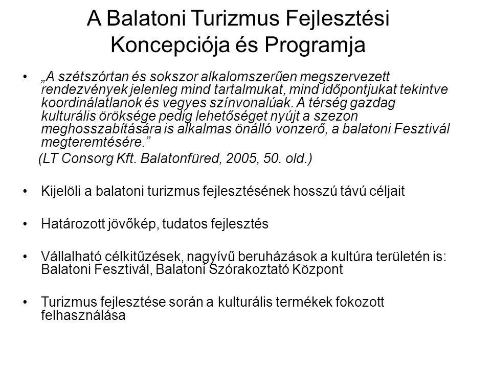 """A Balatoni Turizmus Fejlesztési Koncepciója és Programja """"A szétszórtan és sokszor alkalomszerűen megszervezett rendezvények jelenleg mind tartalmukat"""