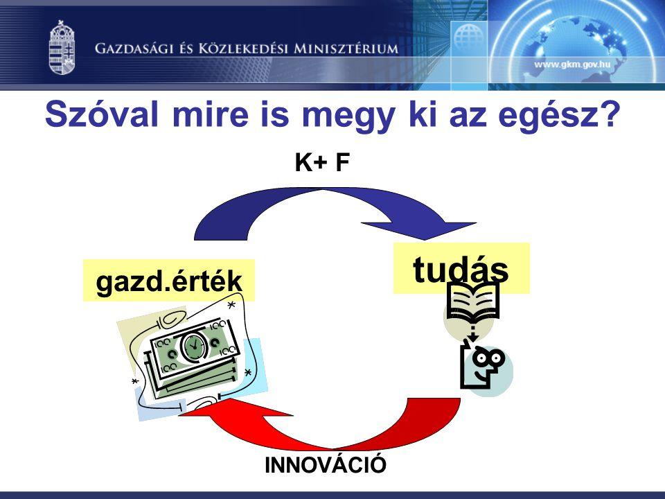 gazd.érték tudás K+ F INNOVÁCIÓ Szóval mire is megy ki az egész