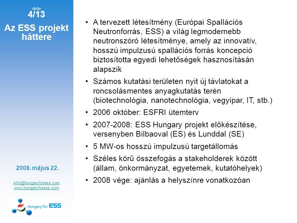 slide 4/13 Az ESS projekt háttere info@hungaryforess.com www.hungaryforess.com A tervezett létesítmény (Európai Spallációs Neutronforrás, ESS) a világ legmodernebb neutronszóró létesítménye, amely az innovatív, hosszú impulzusú spallációs forrás koncepció biztosította egyedi lehetőségek hasznosításán alapszik Számos kutatási területen nyit új távlatokat a roncsolásmentes anyagkutatás terén (biotechnológia, nanotechnológia, vegyipar, IT, stb.) 2006 október: ESFRI ütemterv 2007-2008: ESS Hungary projekt előkészítése, versenyben Bilbaoval (ES) és Lunddal (SE) 5 MW-os hosszú impulzusú targetállomás Széles körű összefogás a stakeholderek között (állam, önkormányzat, egyetemek, kutatóhelyek) 2008 vége: ajánlás a helyszínre vonatkozóan 2008.