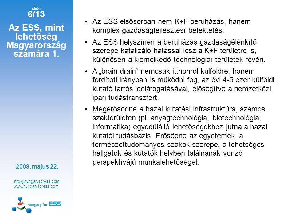 slide 7/13 Az ESS, mint lehetőség Magyarország számára 2.