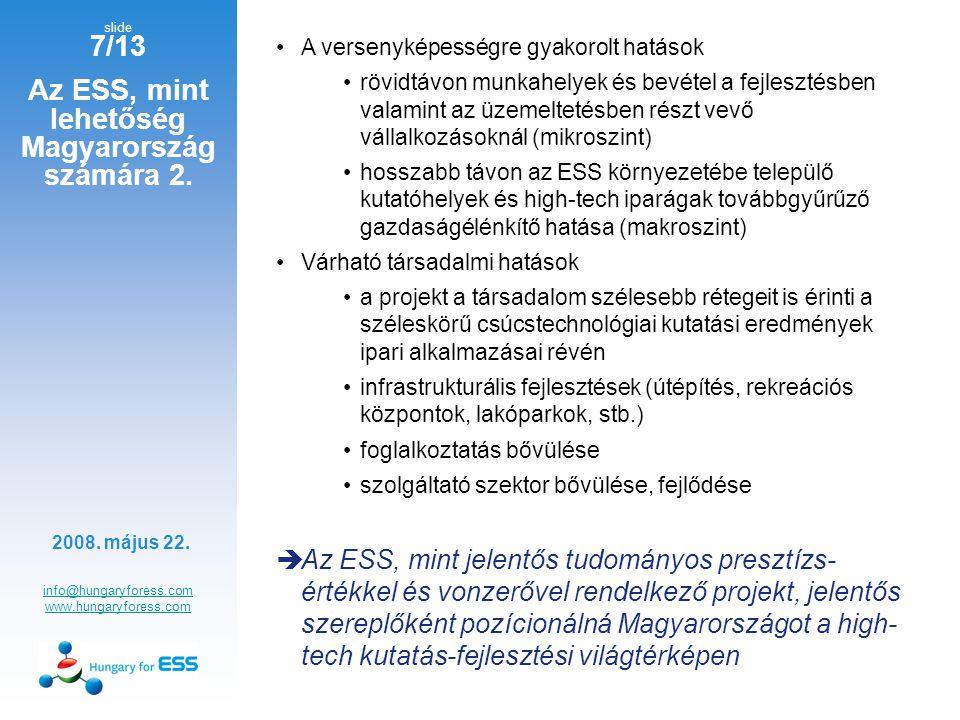 slide 8/13 Az ESS, mint lehetőség Magyarország számára 3.