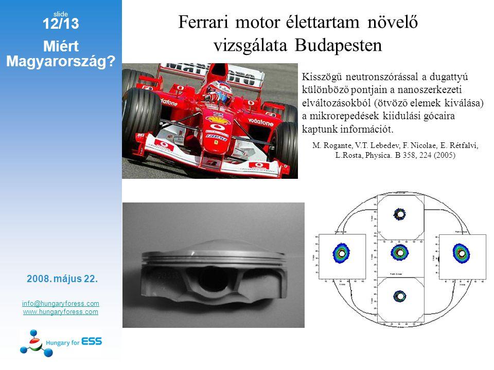 slide 12/13 info@hungaryforess.com www.hungaryforess.com 2008. május 22. Miért Magyarország? Ferrari motor élettartam növelő vizsgálata Budapesten Kis